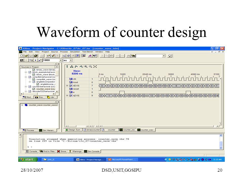 28/10/2007DSD,USIT,GGSIPU20 Waveform of counter design
