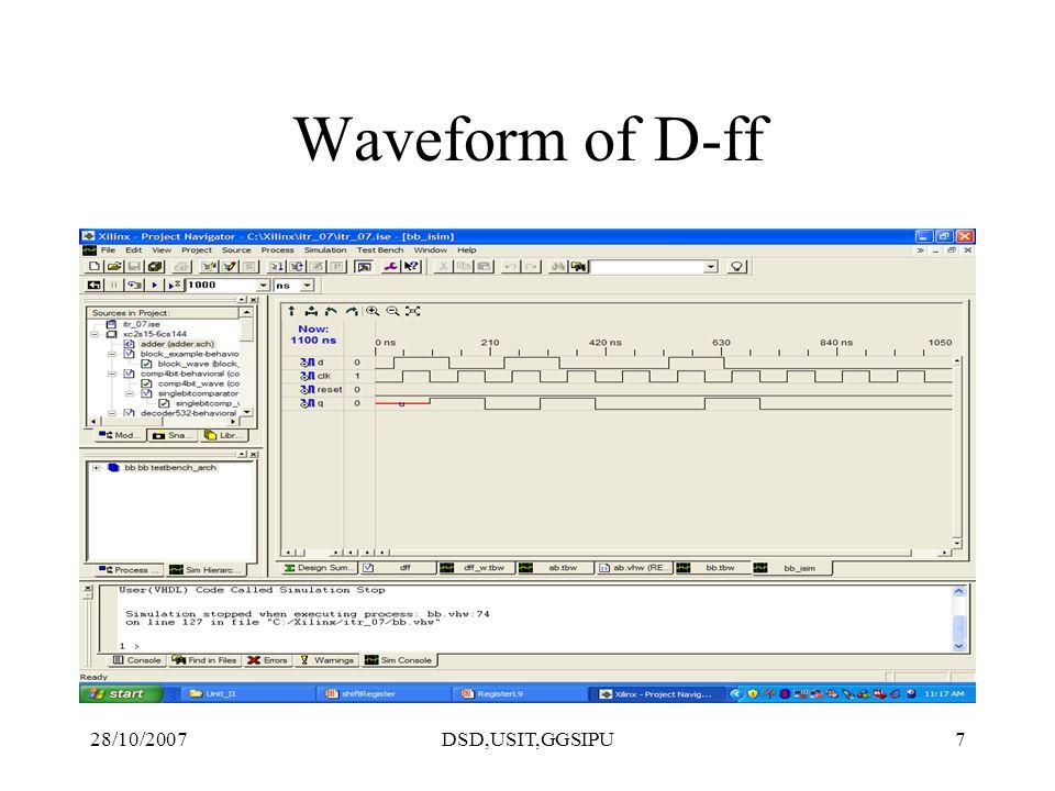 28/10/2007DSD,USIT,GGSIPU7 Waveform of D-ff