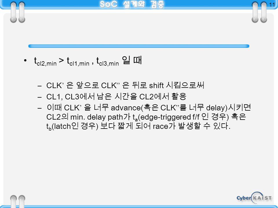 11 t cl2,min > t cl1,min, t cl3,min 일 때 –CLK ' 은 앞으로 CLK 은 뒤로 shift 시킴으로써 –CL1, CL3 에서 남은 시간을 CL2 에서 활용 – 이때 CLK ' 을 너무 advance( 혹은 CLK 를 너무 delay) 시키면 CL2 의 min.
