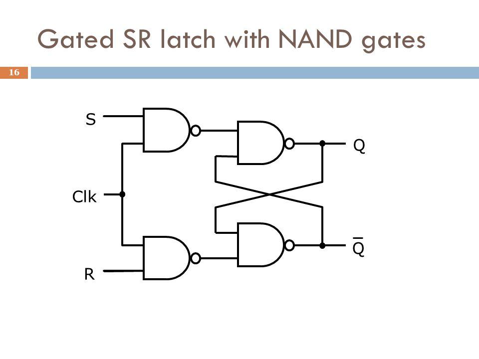 Gated SR latch with NAND gates S R Clk Q Q 16