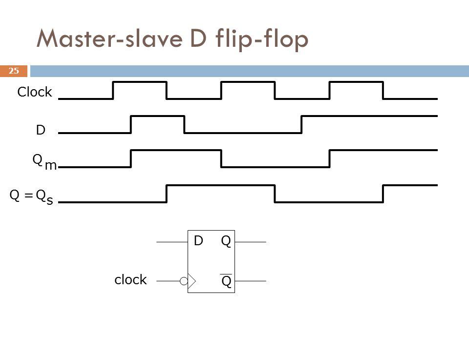 Master-slave D flip-flop D Clock Q m QQ s = D clock Q Q 25