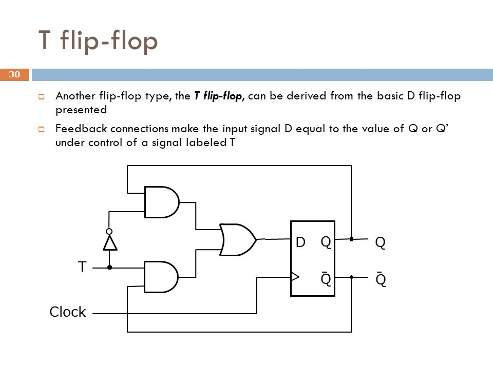 T flip-flop  Another flip-flop type, the T flip-flop, can be derived from the basic D flip-flop presented  Feedback connections make the input signa