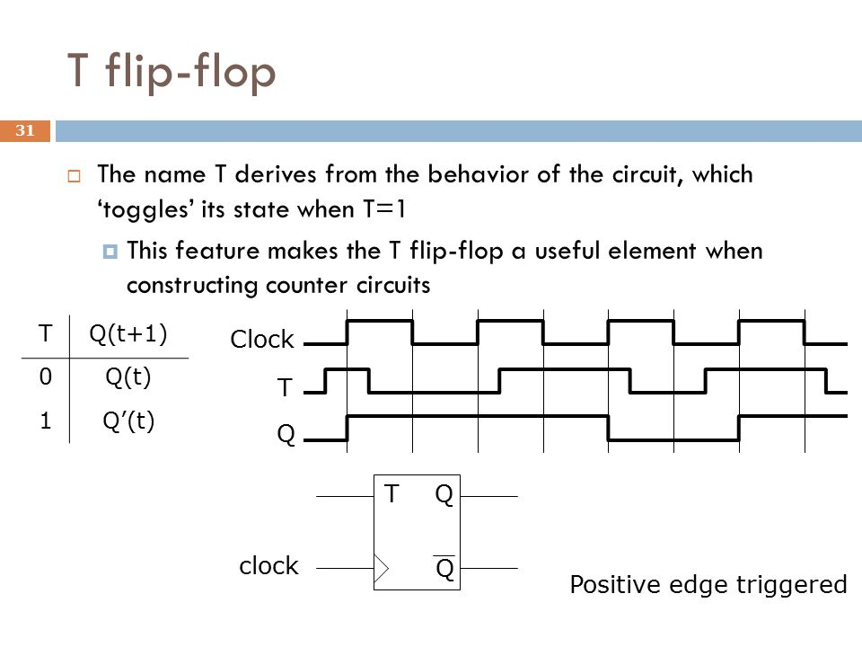 T flip-flop  The name T derives from the behavior of the circuit, which 'toggles' its state when T=1  This feature makes the T flip-flop a useful el