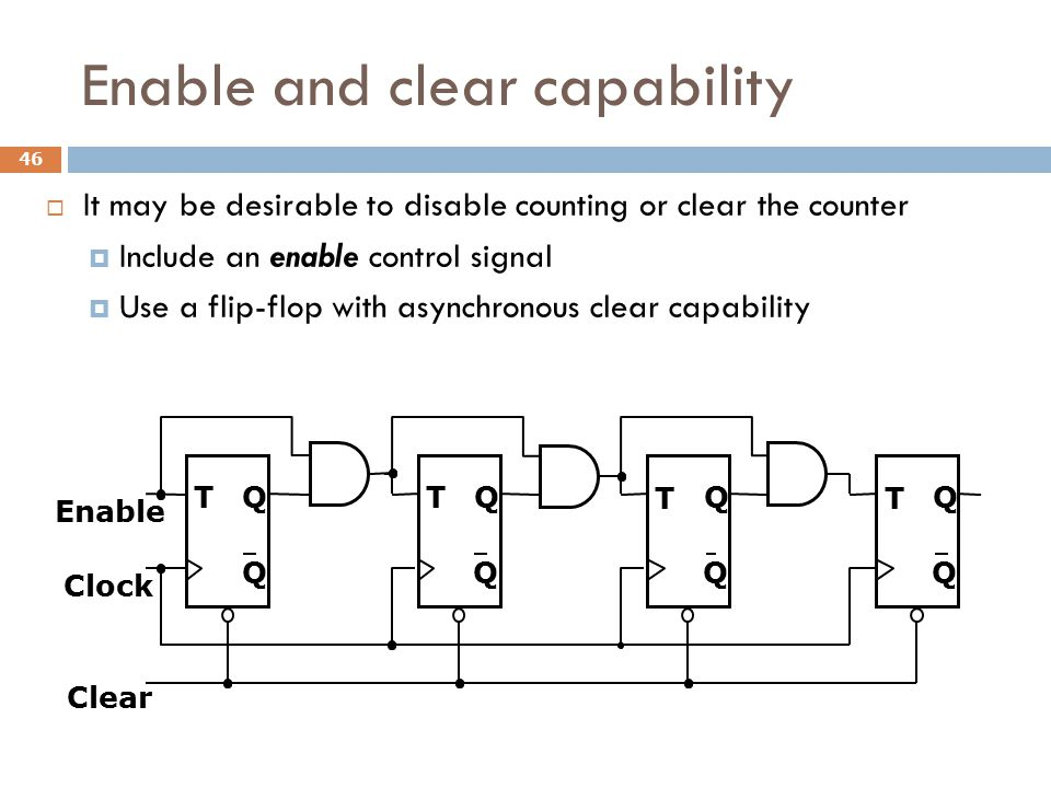 Enable and clear capability  It may be desirable to disable counting or clear the counter  Include an enable control signal  Use a flip-flop with a