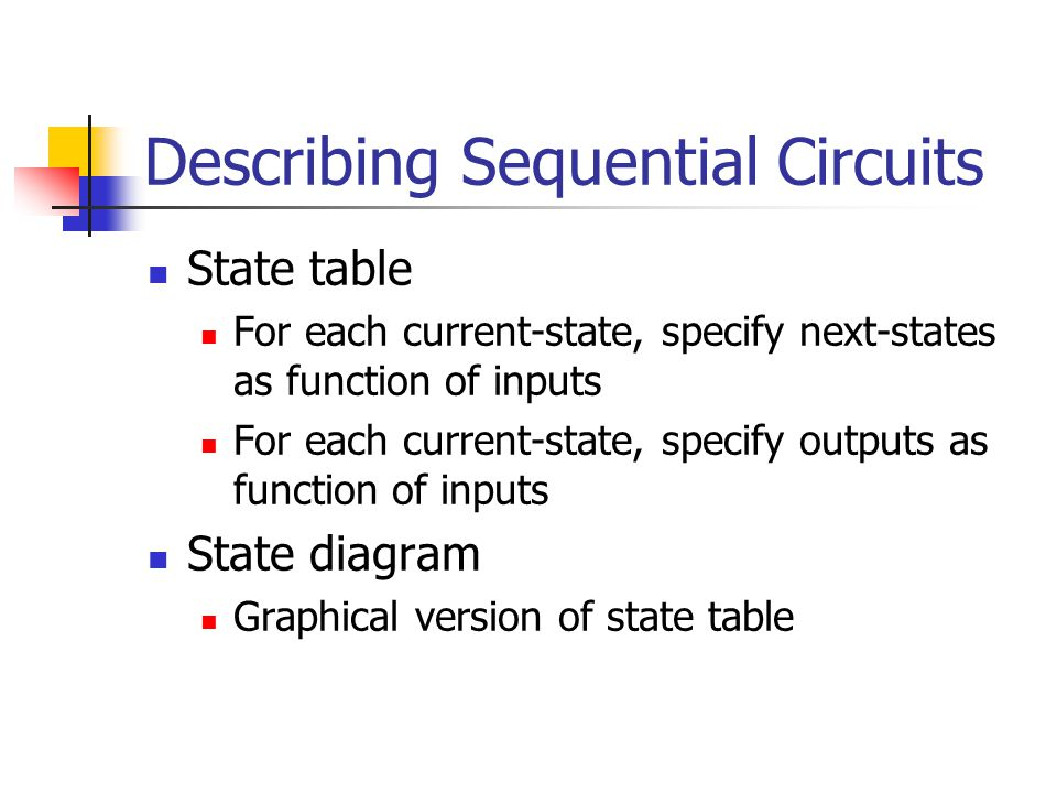 Describing Sequential Circuits State table For each current-state, specify next-states as function of inputs For each current-state, specify outputs as function of inputs State diagram Graphical version of state table