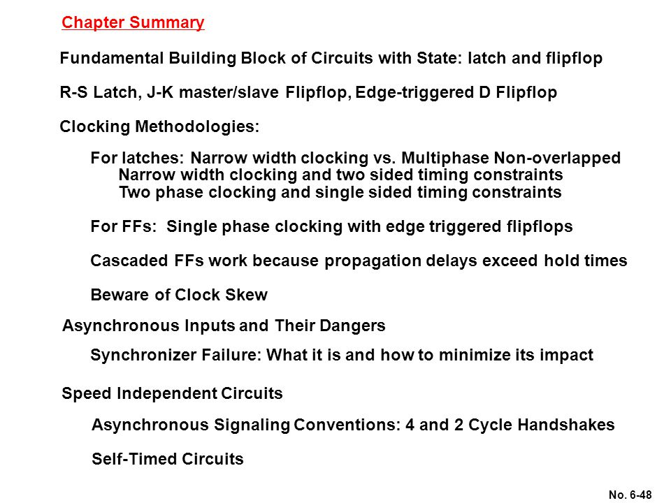 No. 6-48 Chapter Summary Fundamental Building Block of Circuits with State: latch and flipflop R-S Latch, J-K master/slave Flipflop, Edge-triggered D