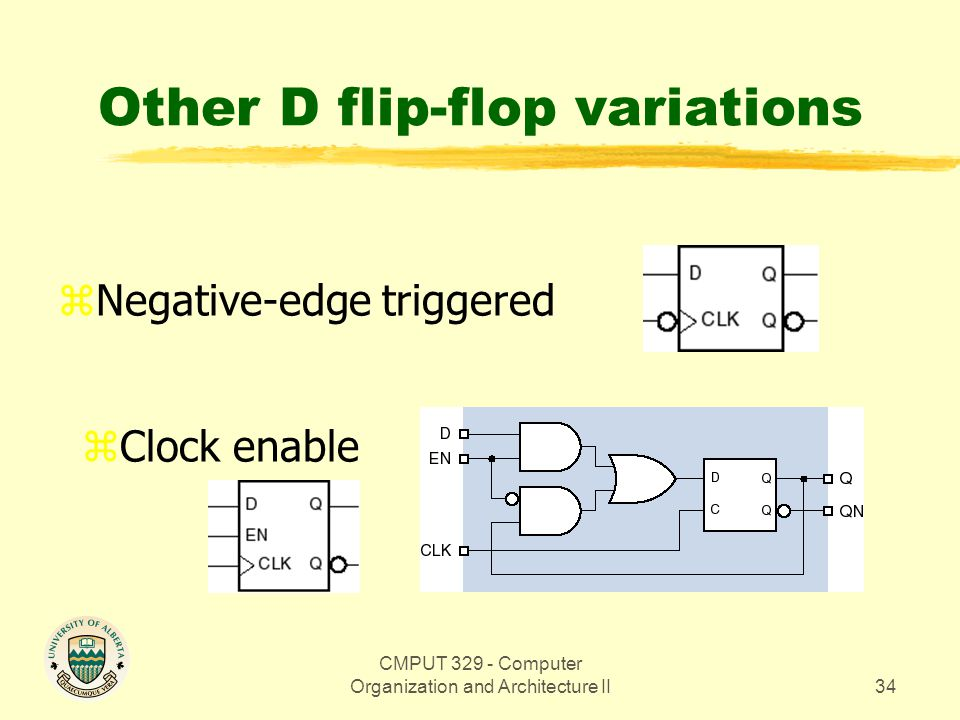 CMPUT 329 - Computer Organization and Architecture II34 Other D flip-flop variations zNegative-edge triggered zClock enable