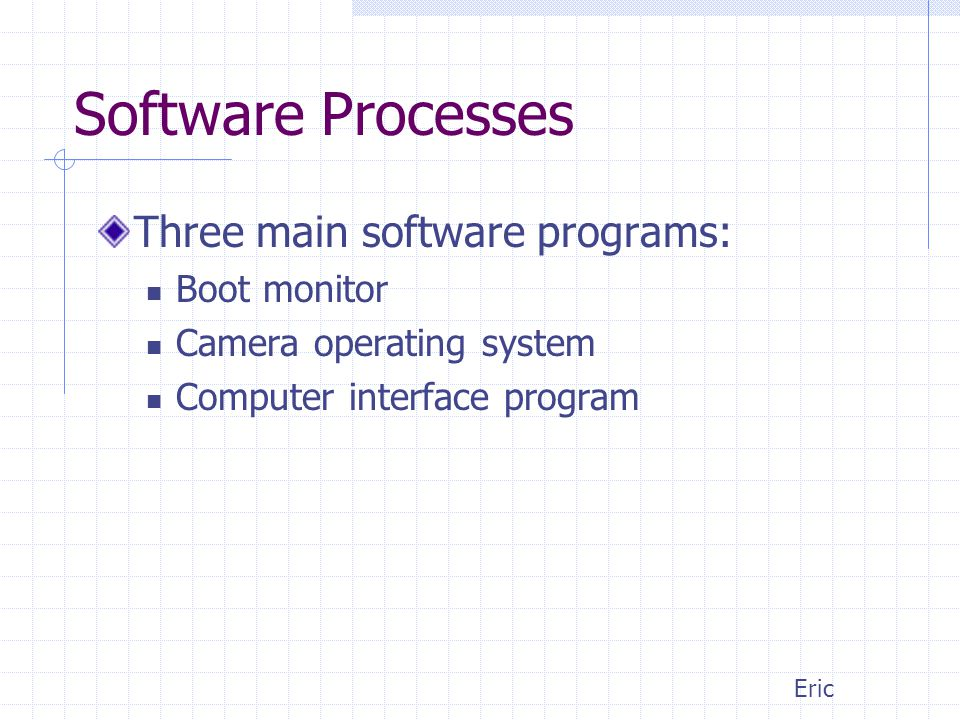 Software Processes Three main software programs: Boot monitor Camera operating system Computer interface program Eric