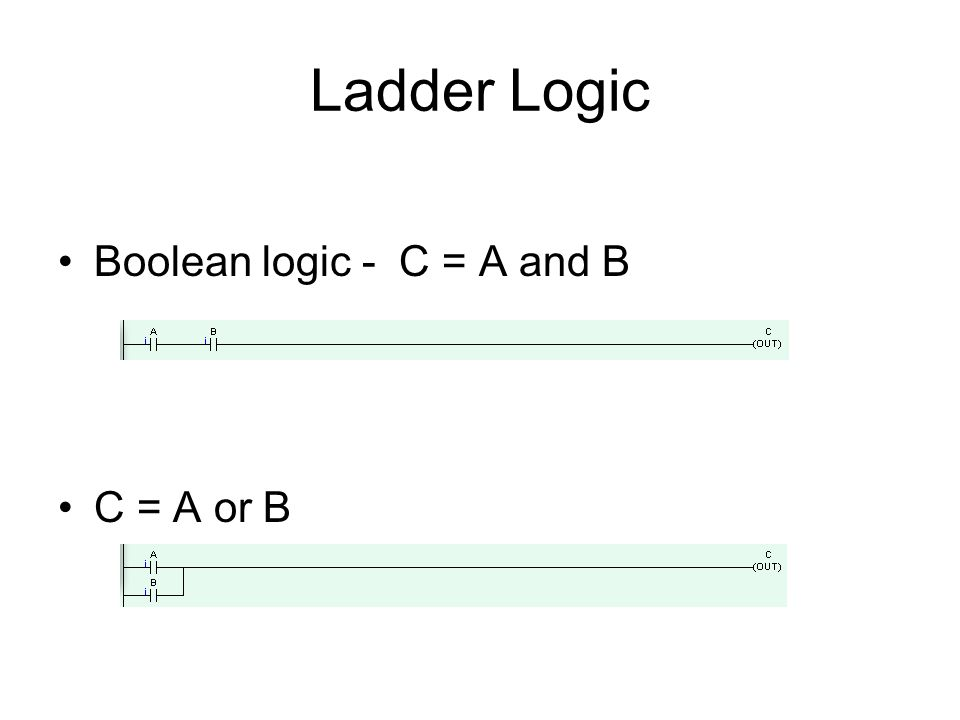 Ladder Logic Boolean logic - C = A and B C = A or B