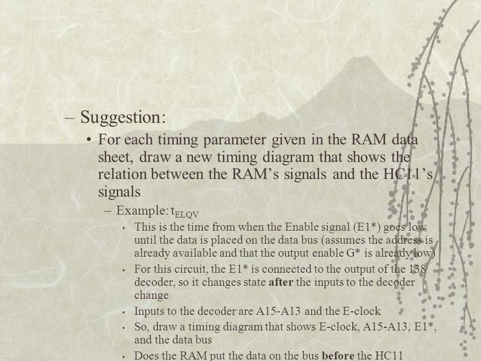 –Suggestion: For each timing parameter given in the RAM data sheet, draw a new timing diagram that shows the relation between the RAM's signals and th