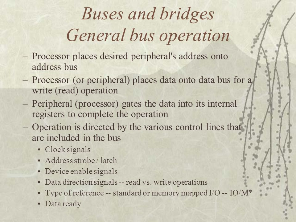 Buses and bridges General bus operation –Processor places desired peripheral's address onto address bus –Processor (or peripheral) places data onto da