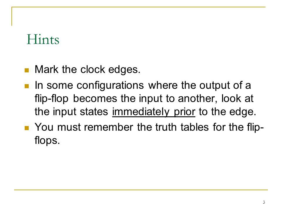 Hints Mark the clock edges.