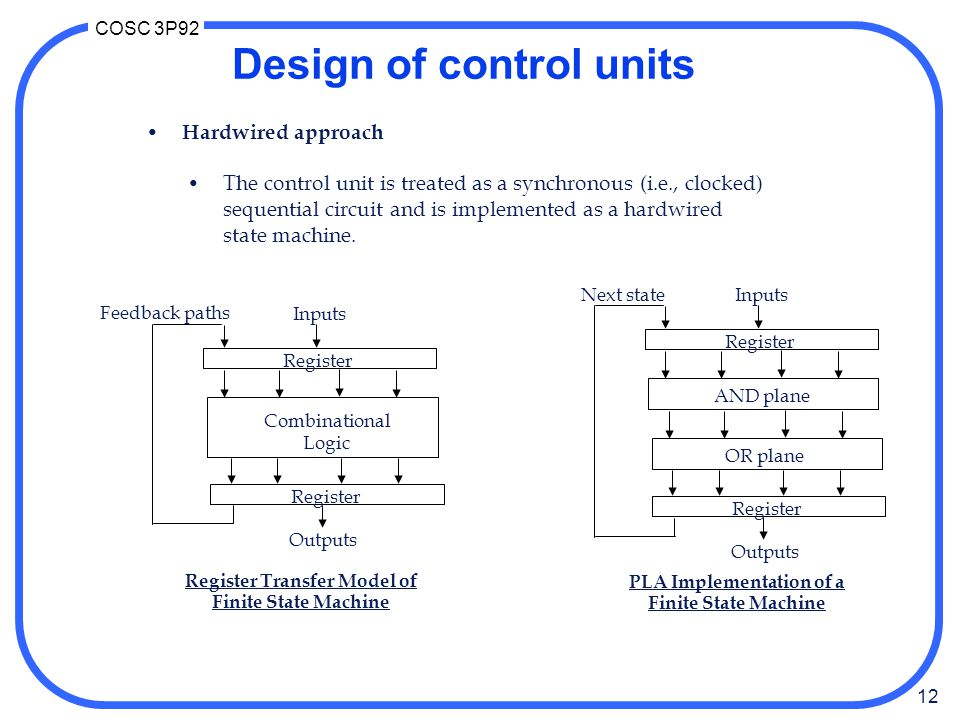 12 COSC 3P92 Design of control units Hardwired approach The control unit is treated as a synchronous (i.e., clocked) sequential circuit and is implemented as a hardwired state machine.