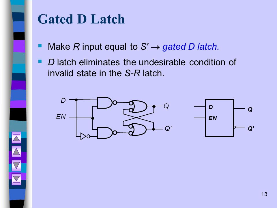 13 Gated D Latch  Make R input equal to S'  gated D latch.  D latch eliminates the undesirable condition of invalid state in the S-R latch. D EN Q