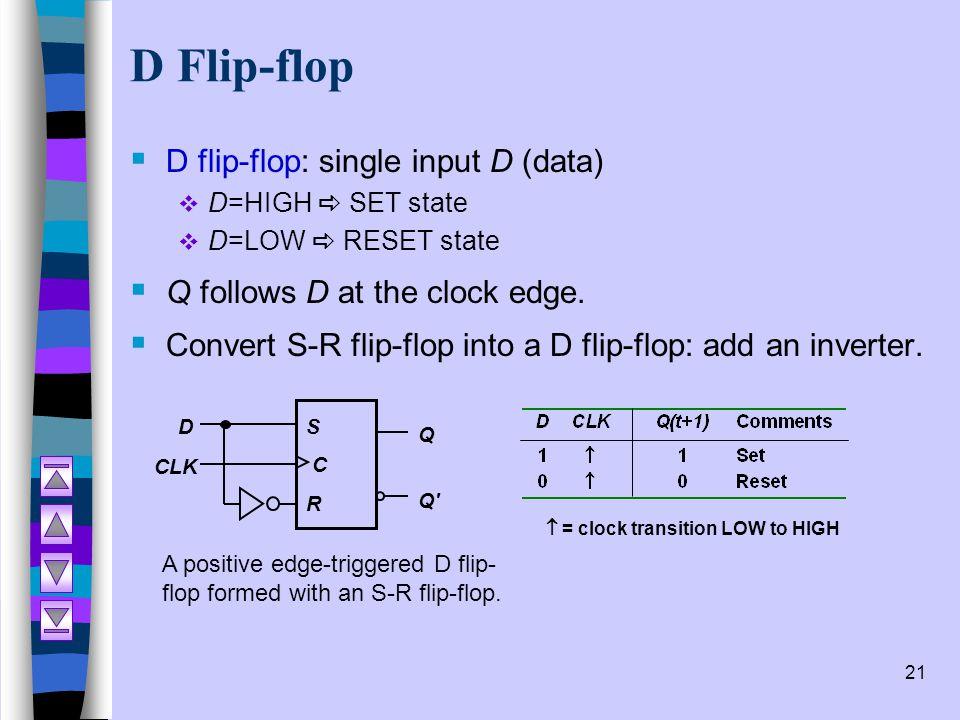 21 D Flip-flop  D flip-flop: single input D (data)  D=HIGH  SET state  D=LOW  RESET state  Q follows D at the clock edge.  Convert S-R flip-flo