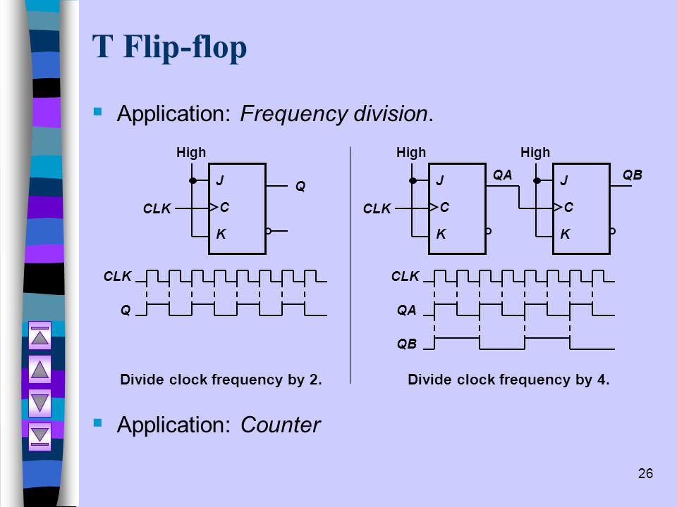 26 T Flip-flop  Application: Frequency division.  Application: Counter J C K Q CLK High CLK Q Divide clock frequency by 2. J C K QA CLK High J C K Q