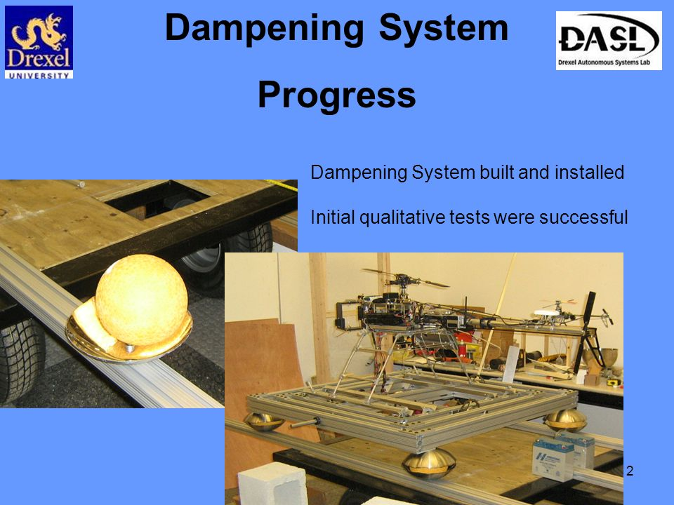 12 Dampening System Progress Dampening System built and installed Initial qualitative tests were successful