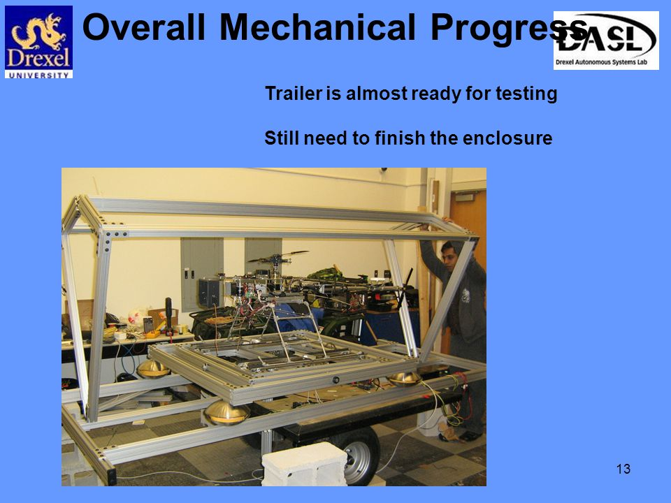 13 Overall Mechanical Progress Trailer is almost ready for testing Still need to finish the enclosure