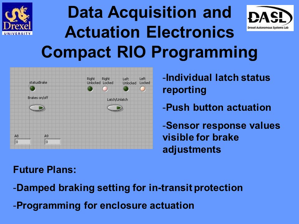 Data Acquisition and Actuation Electronics Compact RIO Programming -Individual latch status reporting -Push button actuation -Sensor response values visible for brake adjustments Future Plans: -Damped braking setting for in-transit protection -Programming for enclosure actuation
