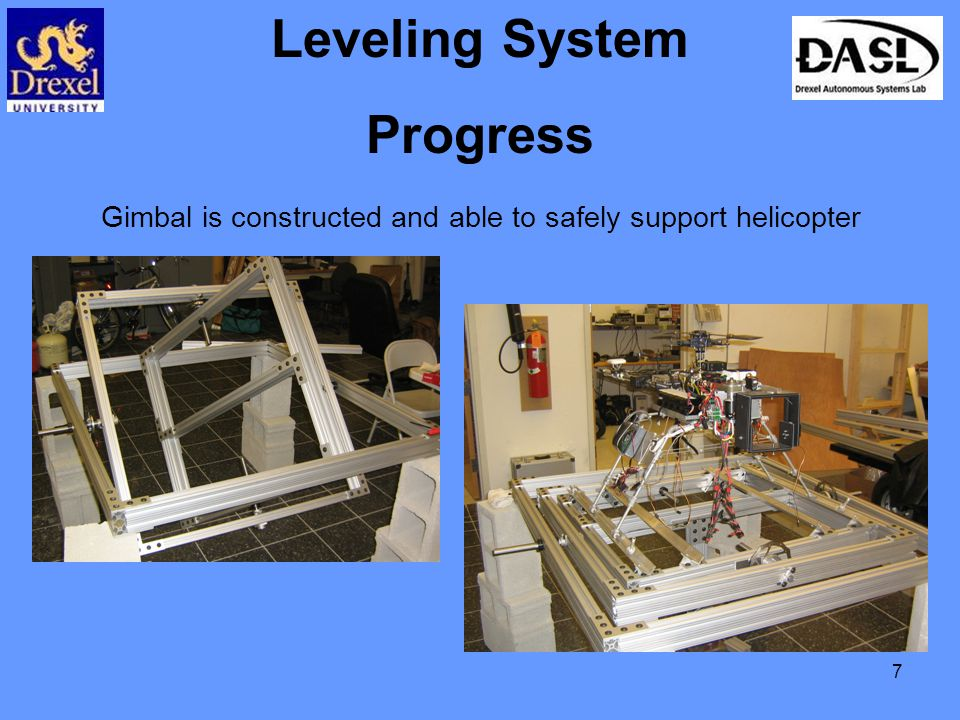 7 Leveling System Progress Gimbal is constructed and able to safely support helicopter