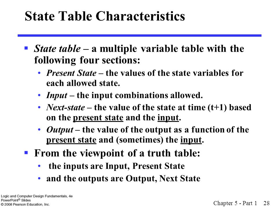 Chapter 5 - Part 1 28 State Table Characteristics  State table – a multiple variable table with the following four sections: Present State – the valu