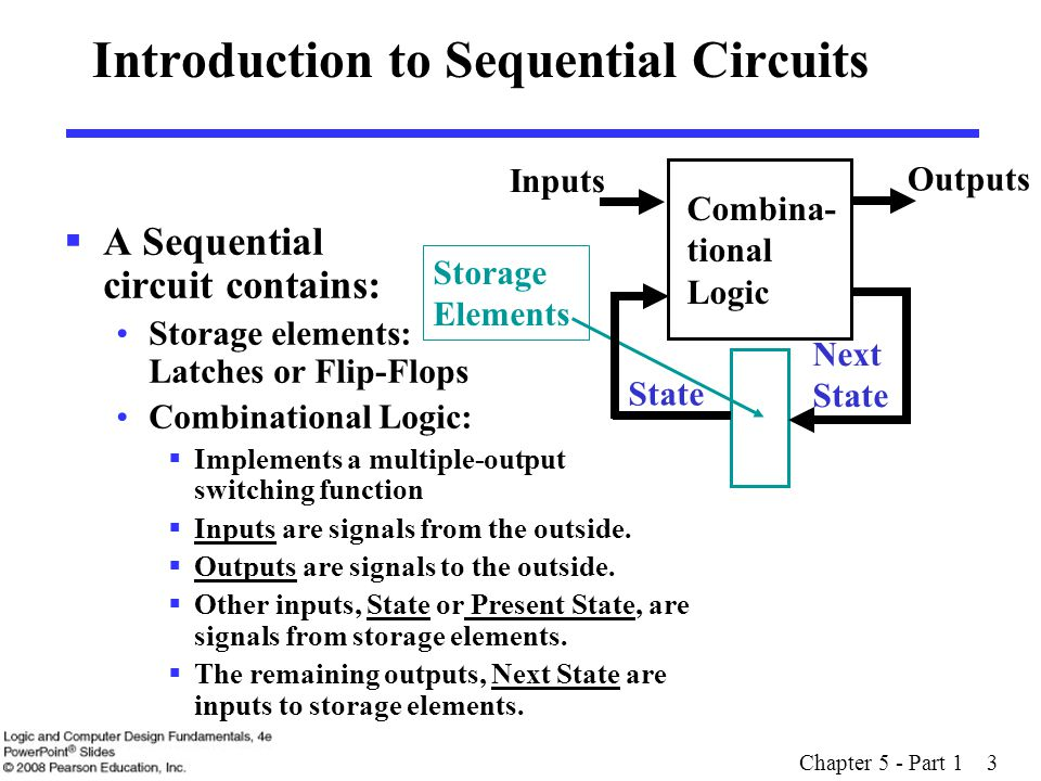 Chapter 5 - Part 1 24 Sequential Circuit Analysis  General Model Current State at time (t) is stored in an array of flip-flops.