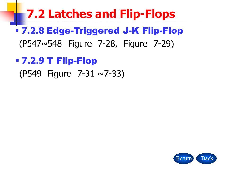 BackReturn 7.2 Latches and Flip-Flops  7.2.8 Edge-Triggered J-K Flip-Flop (P547~548 Figure 7-28, Figure 7-29)  7.2.9 T Flip-Flop (P549 Figure 7-31 ~7-33)