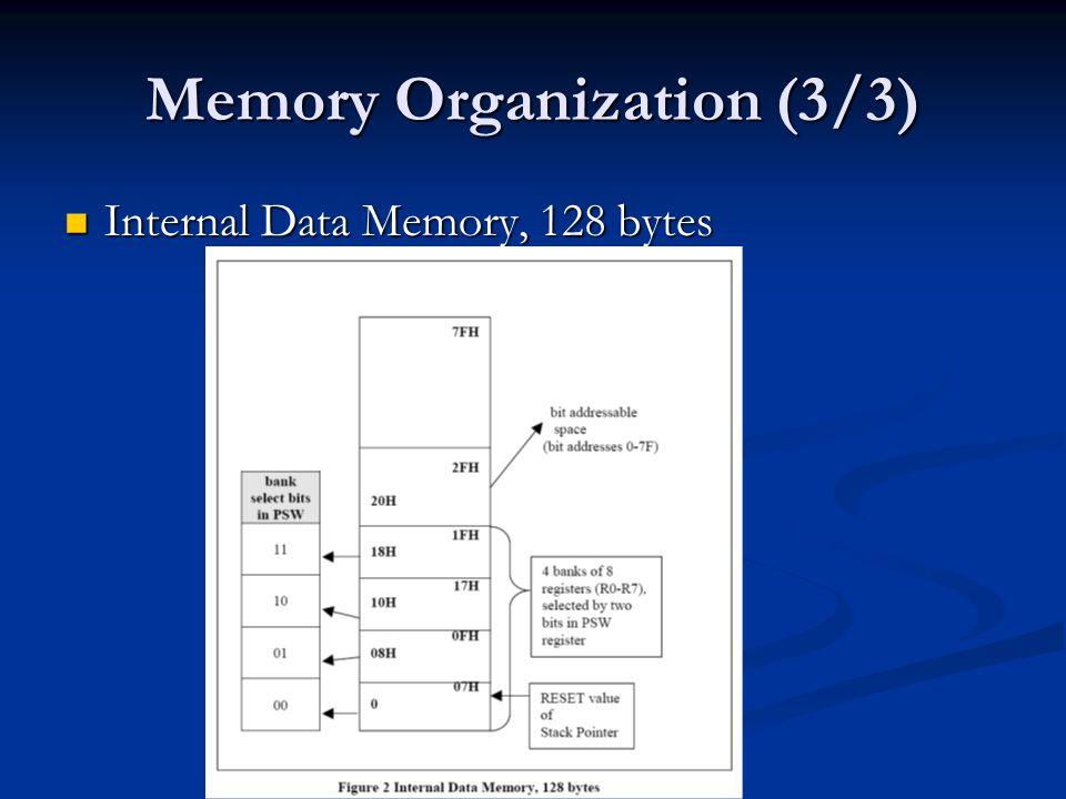 Memory Organization (3/3) Internal Data Memory, 128 bytes Internal Data Memory, 128 bytes
