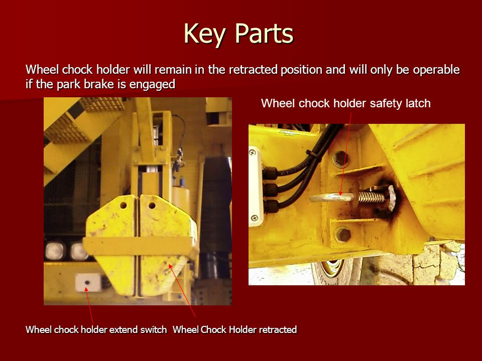 Key Parts Wheel chock holder will remain in the retracted position and will only be operable if the park brake is engaged Wheel chock holder extend sw