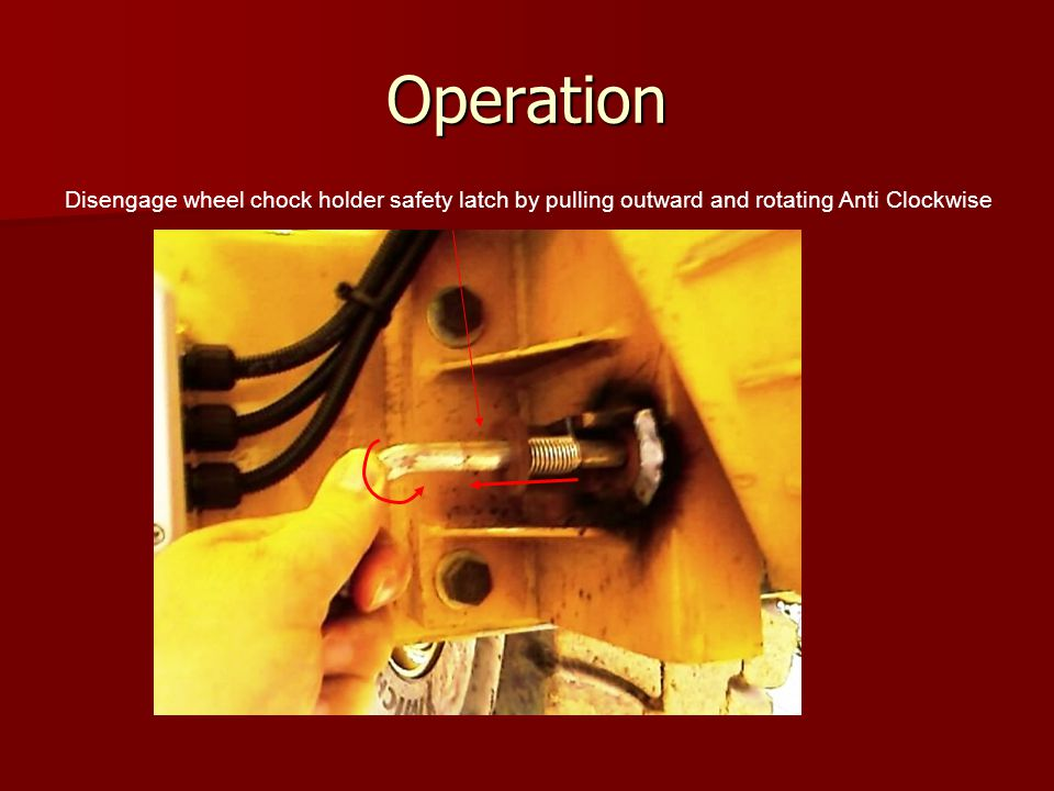 Operation Disengage wheel chock holder safety latch by pulling outward and rotating Anti Clockwise