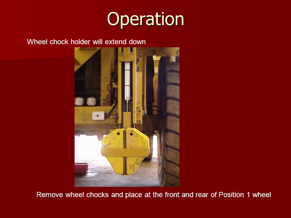 Operation Wheel chock holder will automatically retract after 2 minutes Press the extend button again prior to replacing the wheel chocks in the wheel chock holder