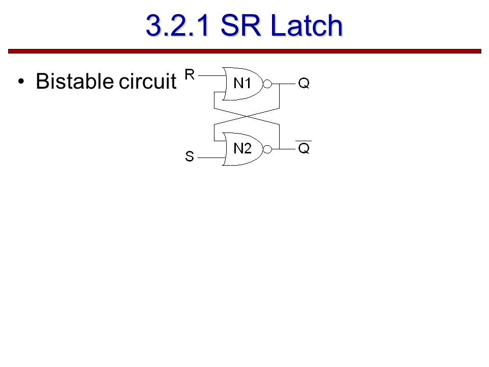 3.2.1 SR Latch Bistable circuit