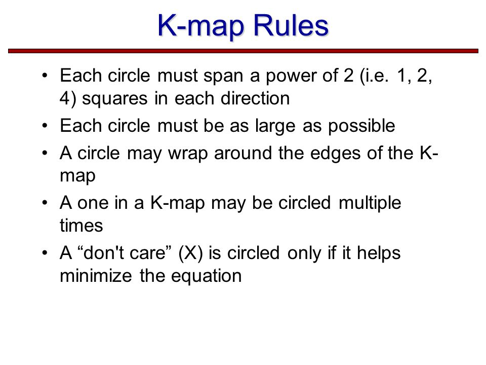 K-map Rules Each circle must span a power of 2 (i.e.