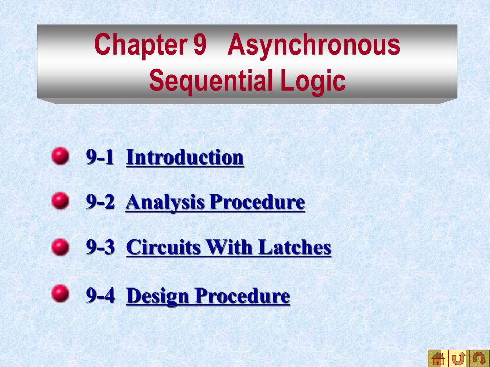 Chapter 9 Asynchronous Sequential Logic 9-1 Introduction Introduction 9-2 Analysis Procedure Analysis ProcedureAnalysis Procedure 9-3 Circuits With Latches Circuits With LatchesCircuits With Latches 9-4 Design Procedure Design ProcedureDesign Procedure