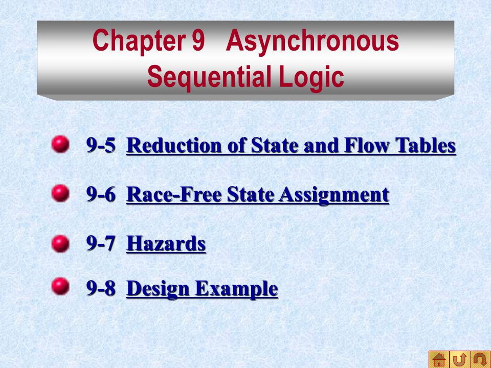 9-5 Reduction of State and Flow Tables Reduction of State and Flow TablesReduction of State and Flow Tables 9-6 Race-Free State Assignment Race-Free State AssignmentRace-Free State Assignment 9-7 Hazards Hazards 9-8 Design Example Design ExampleDesign Example Chapter 9 Asynchronous Sequential Logic