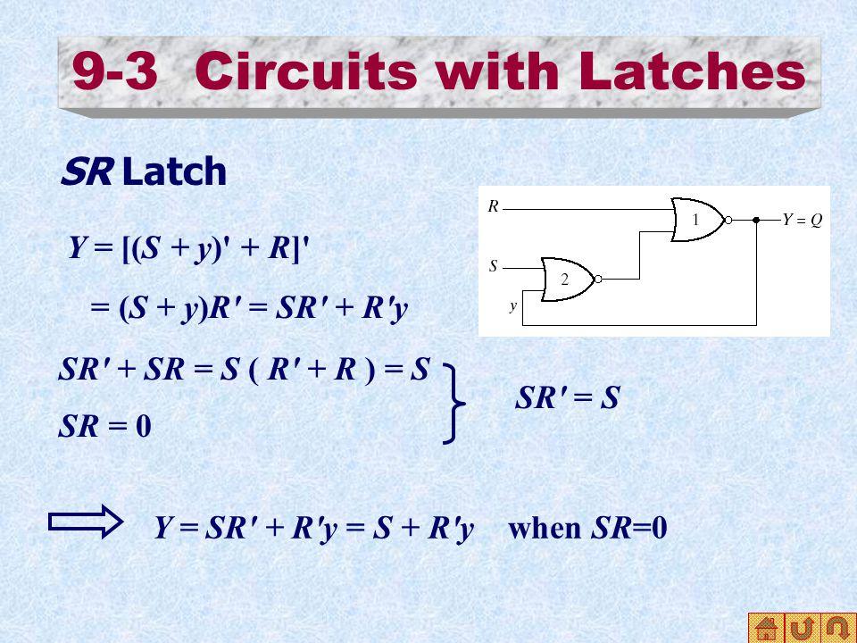 9-3 Circuits with Latches SR Latch Y = [(S + y) + R] = (S + y)R = SR + R y SR + SR = S ( R + R ) = S SR = 0 SR = S Y = SR + R y = S + R y when SR=0