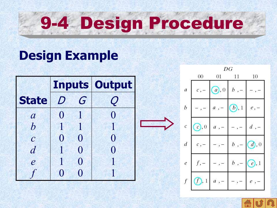 9-4 Design Procedure Design Example State InputsOutput D GQ abcdefabcdef 0 1 1 0 1 0 0 010011010011