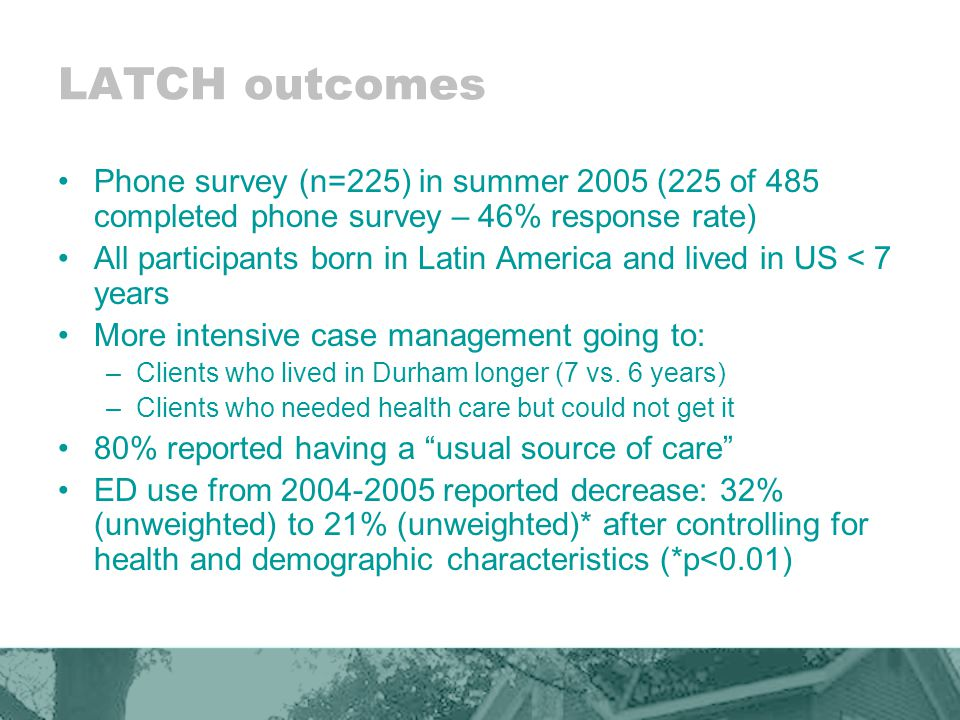 LATCH outcomes Phone survey (n=225) in summer 2005 (225 of 485 completed phone survey – 46% response rate) All participants born in Latin America and lived in US < 7 years More intensive case management going to: –Clients who lived in Durham longer (7 vs.