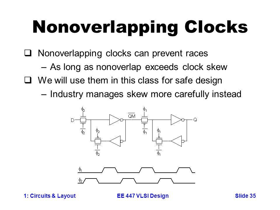 1: Circuits & LayoutSlide 35EE 447 VLSI Design Nonoverlapping Clocks  Nonoverlapping clocks can prevent races –As long as nonoverlap exceeds clock skew  We will use them in this class for safe design –Industry manages skew more carefully instead
