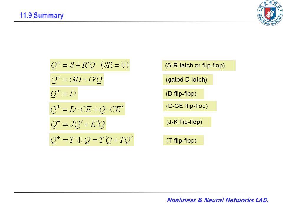 Nonlinear & Neural Networks LAB. 11.9 Summary (S-R latch or flip-flop) (gated D latch) (D flip-flop) (D-CE flip-flop) (J-K flip-flop) (T flip-flop)