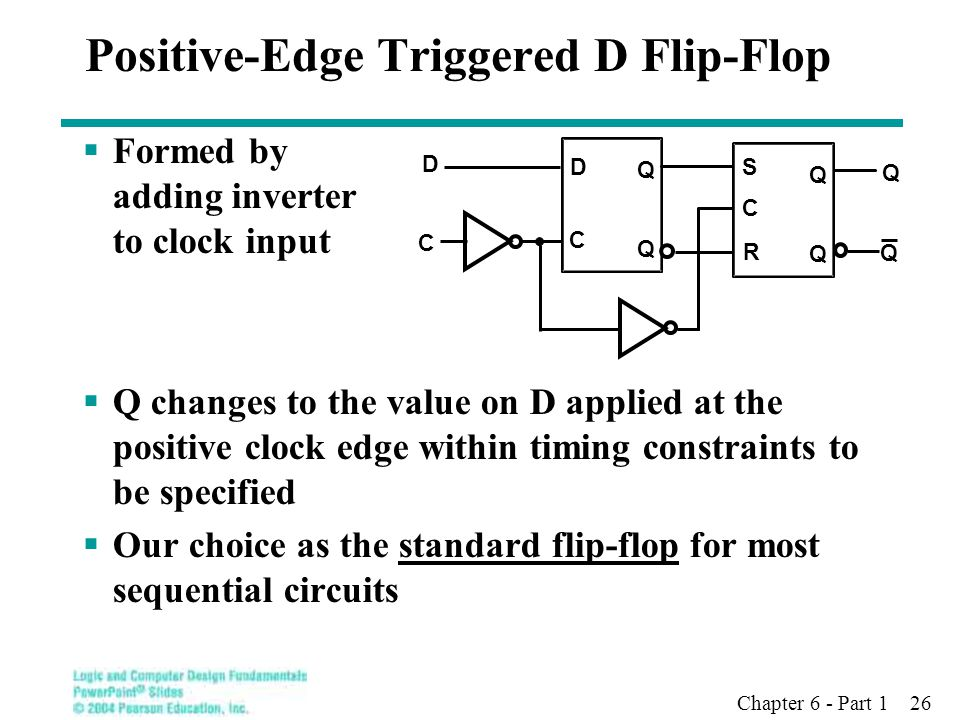 Chapter 6 - Part 1 26 Positive-Edge Triggered D Flip-Flop  Formed by adding inverter to clock input  Q changes to the value on D applied at the posi
