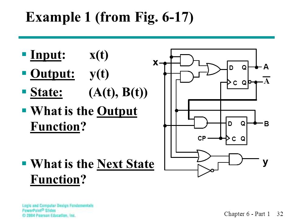 Chapter 6 - Part 1 32 Example 1 (from Fig. 6-17)  Input: x(t)  Output: y(t)  State: (A(t), B(t))  What is the Output Function?  What is the Next