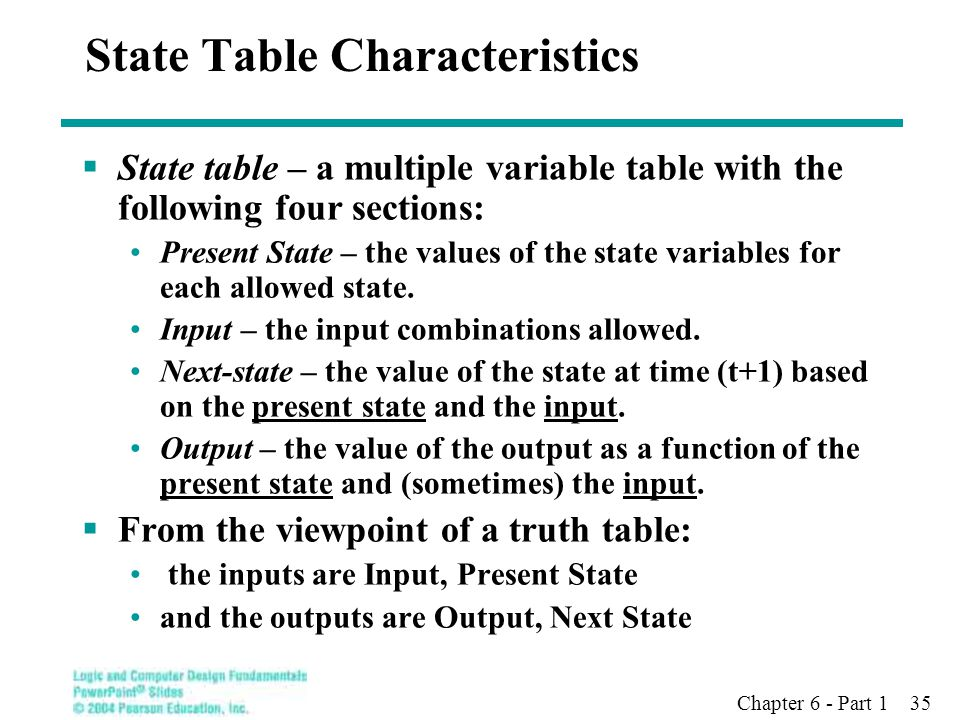 Chapter 6 - Part 1 35 State Table Characteristics  State table – a multiple variable table with the following four sections: Present State – the valu