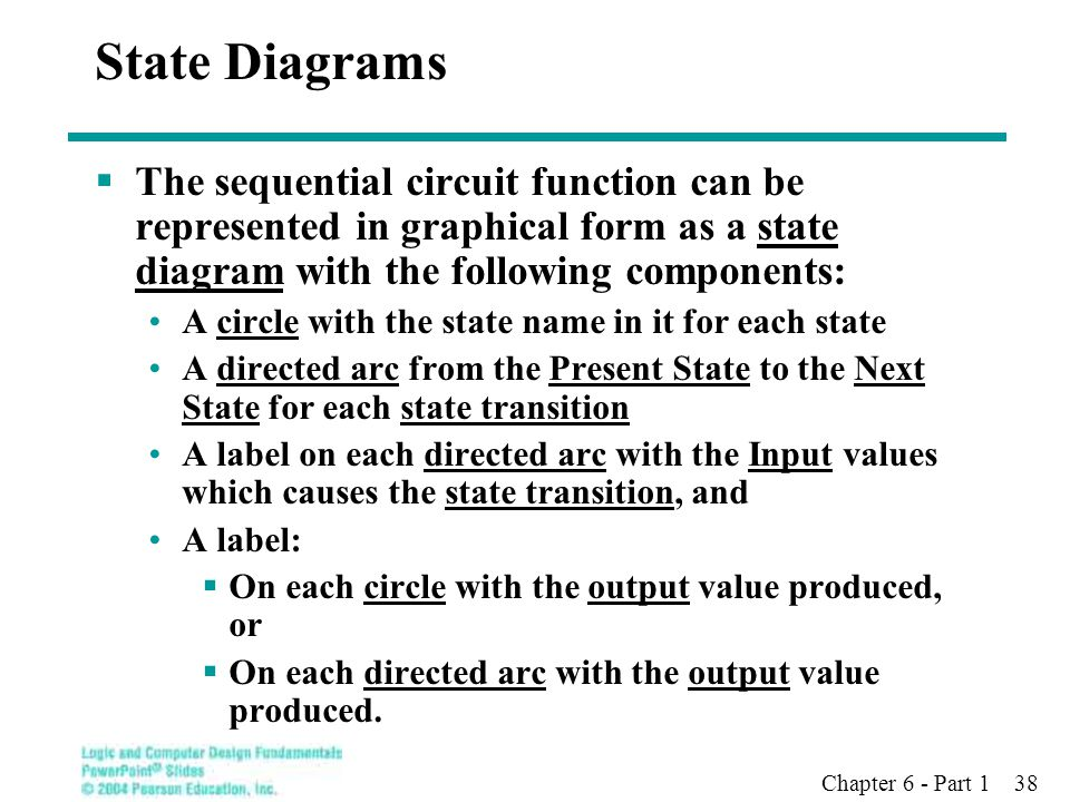 Chapter 6 - Part 1 38 State Diagrams  The sequential circuit function can be represented in graphical form as a state diagram with the following comp