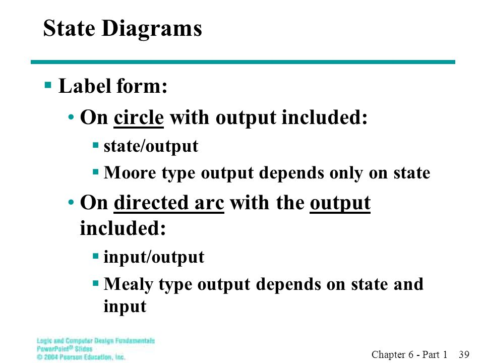 Chapter 6 - Part 1 39 State Diagrams  Label form: On circle with output included:  state/output  Moore type output depends only on state On directe