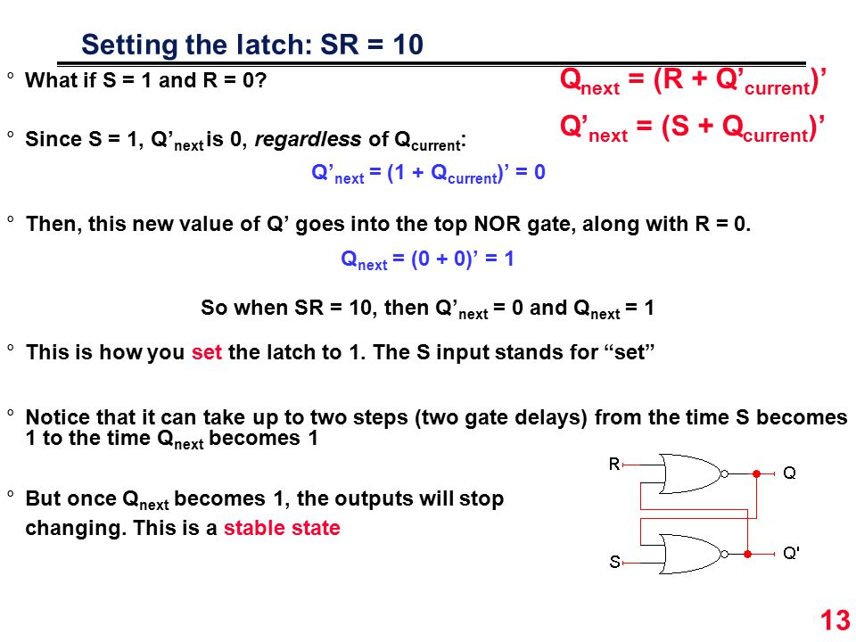13 Setting the latch: SR = 10 °What if S = 1 and R = 0.