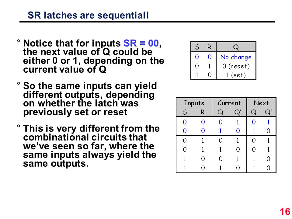 16 SR latches are sequential.