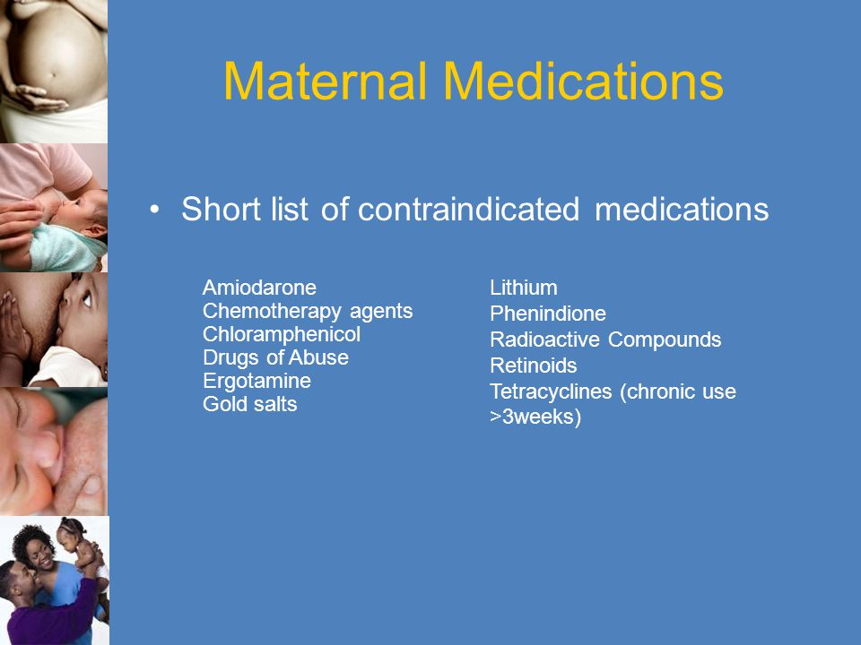 Maternal Medications Short list of contraindicated medications Lithium Phenindione Radioactive Compounds Retinoids Tetracyclines (chronic use >3weeks)