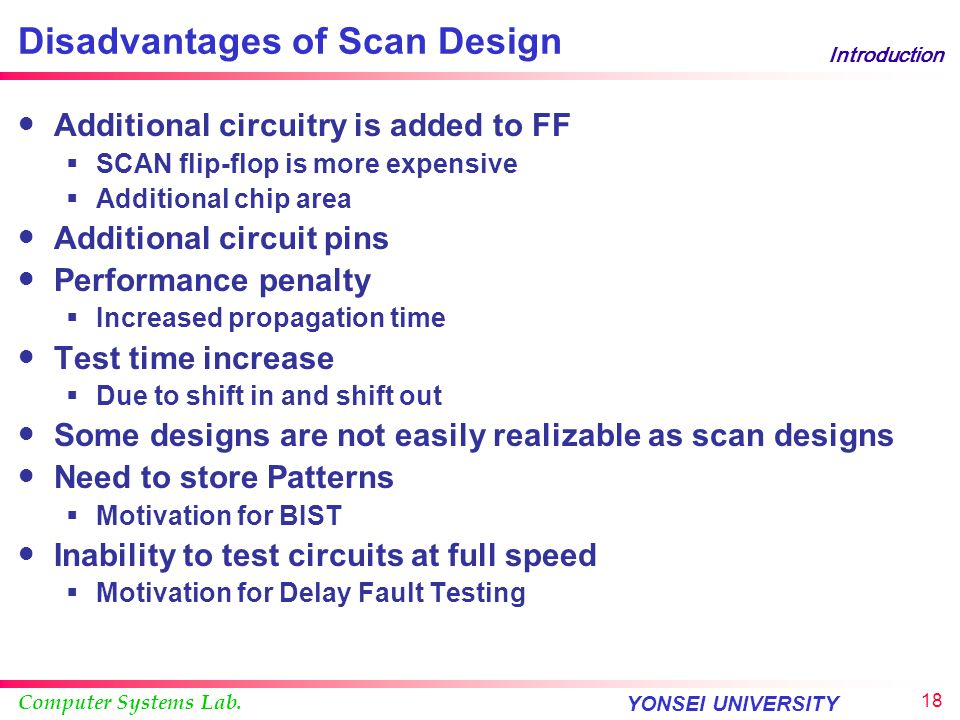 Computer Systems Lab. YONSEI UNIVERSITY 17 Introduction Advantages of Scan Design Structured design is possible Can use combinational ATPG Significant