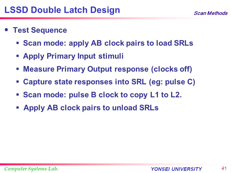 Computer Systems Lab. YONSEI UNIVERSITY 40 Scan Methods LSSD Double Latch Design Both L1 and L2 participate in system function